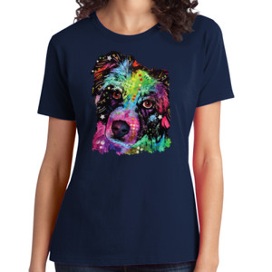 Colorful Border Collie - Ladies Soft Cotton T