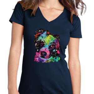 Colorful Border Collie - Juniors V-Neck T