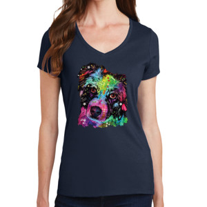 Colorful Border Collie - Ladies V-Neck T