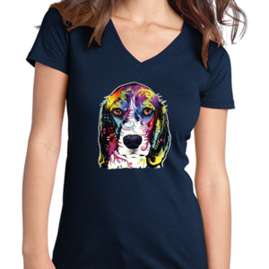 Colorful Beagle - Juniors V-Neck T