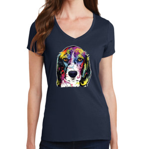 Colorful Beagle - Ladies V-Neck T