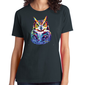 Colorful Owl - Ladies Soft Cotton T