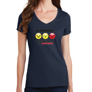 Warning- Emotions - Ladies V-Neck T