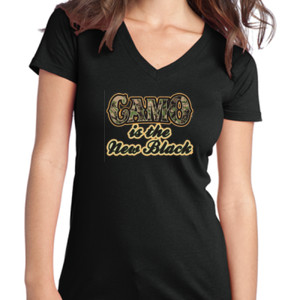 Camo is the New Black - Juniors V-Neck T