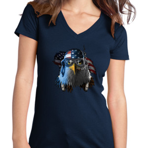 Patriotic Eagle - Juniors V-Neck T