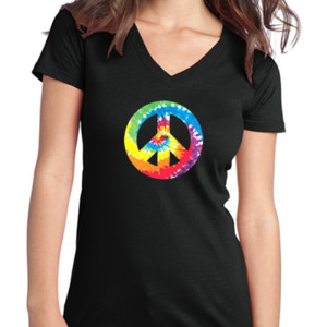 Peace Sign - Juniors V-Neck T