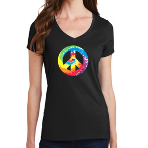 Peace Sign - Ladies V-Neck T
