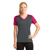 Ladies CamoHex Colorblock V Neck
