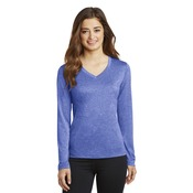 Ladies LS Heather V Neck