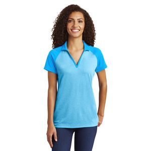 Ladies RacerMesh Raglan Heather Block Polo Thumbnail