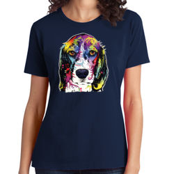 Colorful Beagle - Ladies Soft Cotton T Thumbnail