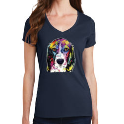 Colorful Beagle - Ladies V-Neck T Thumbnail
