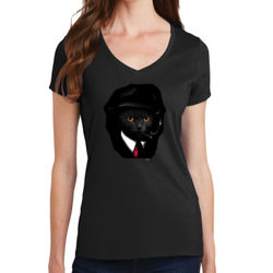 Cool Cat - Ladies V-Neck T Thumbnail