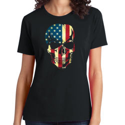 American Skull - Ladies Soft Cotton T Thumbnail