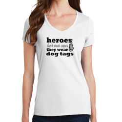 Heroes Wear Dog Tags - Ladies V-Neck T Thumbnail