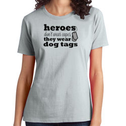 Heroes Wear Dog Tags - Ladies Soft Cotton T Thumbnail