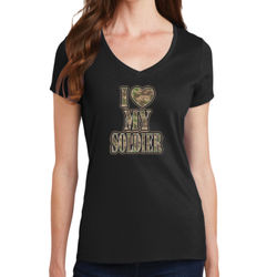 I Heart My Soldier  - Ladies V-Neck T Thumbnail