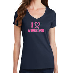 I Heart a Survivor - Ladies V-Neck T Thumbnail
