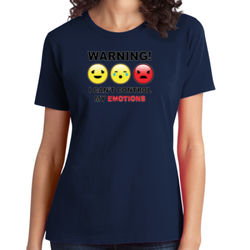 Warning- Emotions - Ladies Soft Cotton T Thumbnail
