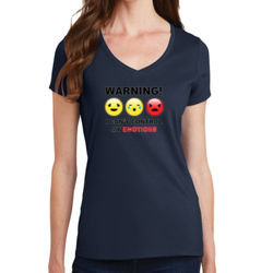 Warning- Emotions - Ladies V-Neck T Thumbnail
