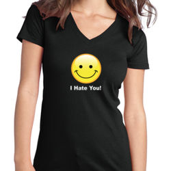 I Hate You - Juniors V-Neck T Thumbnail