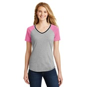 Juniors Mesh Sleeve V Neck