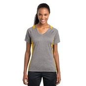 Ladies Heather Colorblock V Neck