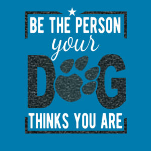 Be the Person Your Dog Thinks You Are (White and Metallic Black) - Unisex Favorite 50/50 Blend T-Shirt Design