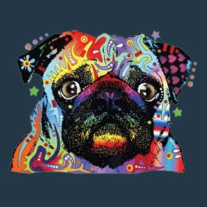 Colorful Pug - Juniors V-Neck T Design