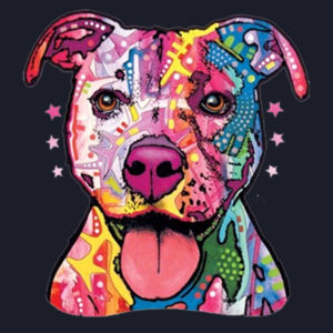 Colorful Pit Bull T-Shirt - Ladies Fan Favorite V Neck Design