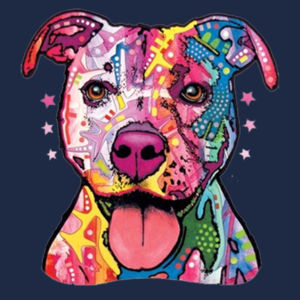 Colorful Pit Bull T-Shirt - Ladies Ring Spun T Design