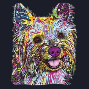 Colorful Yorkie - Ladies Fan Favorite V Neck Design