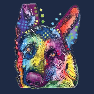 Colorful German Shepherd  - Adult Soft Cotton T Design