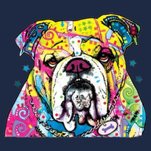 Colorful Bulldog - Ladies Ring Spun T Design