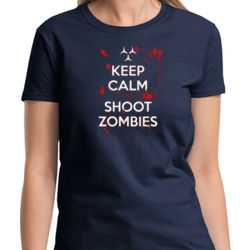 Keep Calm and Shoot Zombies Ladies T Thumbnail