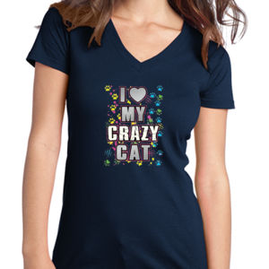 My Crazy Cat - Juniors V-Neck T Thumbnail