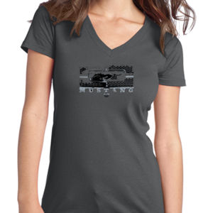 Mustang Grill - Juniors V-Neck T Thumbnail