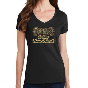 Camo is the New Black - Ladies V-Neck T Thumbnail