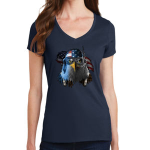 Patriotic Eagle - Ladies V-Neck T Thumbnail