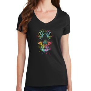 Painted Tiger - Ladies V-Neck T Thumbnail