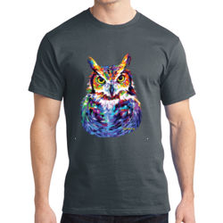 Colorful Owl - Adult Soft Cotton T Thumbnail